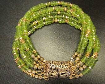 Peridot Bracelet, Peridot Jewelry, Peridot Cuff, Gemstone Bracelet, Genuine Peridot, August Birthday by Josephine's Cotillion