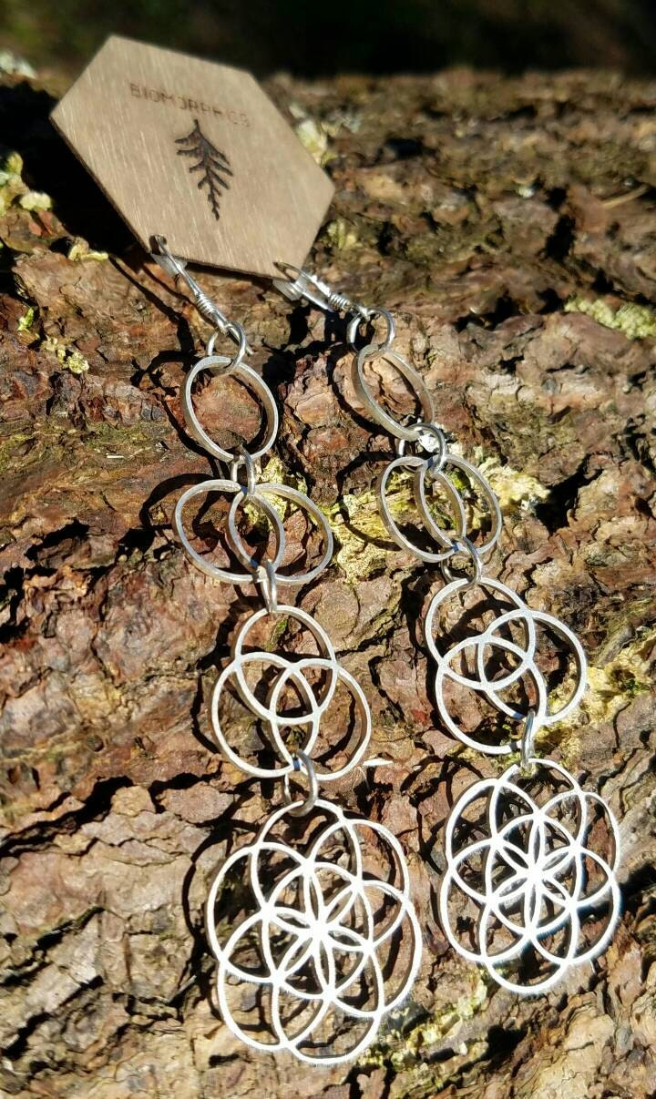 Ascension - Sterling Silver Sacred Geometry Statement Earrings - Seed of Life - Vesica Piscis - Tripod of Life
