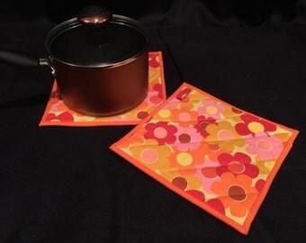 Orange Floral Quilted, Insulated Pot Holder Set