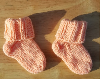 Baby socks/booties (peach), handcrafted knit socks, 3-9 months, custom colors available