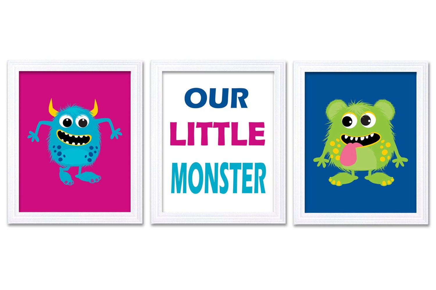 Monsters Nursery Art Set of 3 Prints Our Little Monster Pink Blue Lime Green Child Art Kids Room Wal