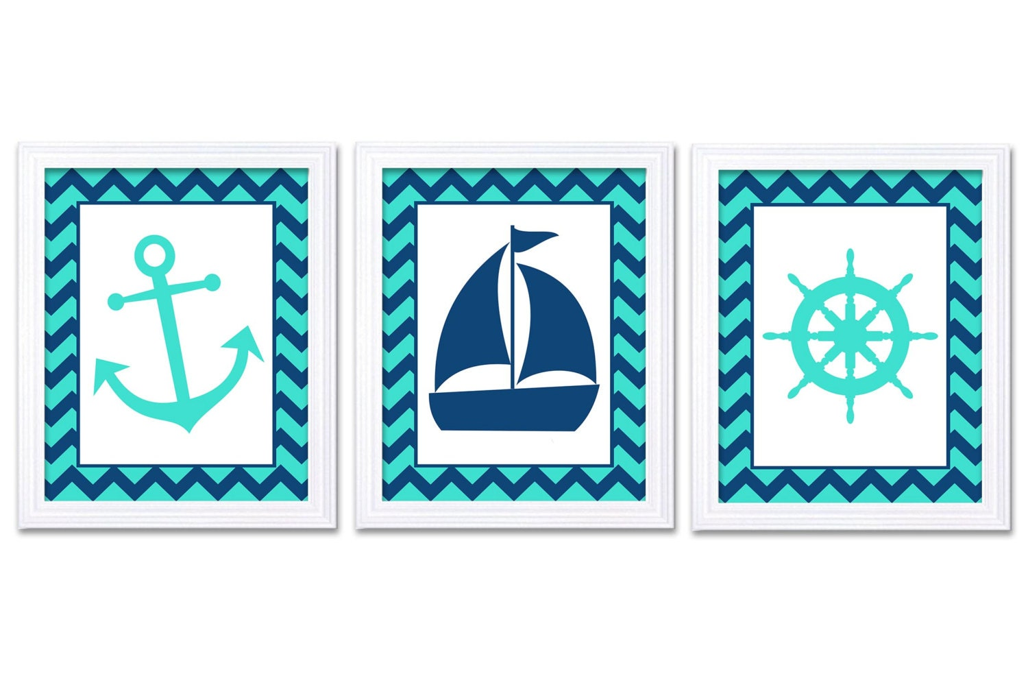 Nautical Nursery Art Ocean Marine Aqua Blue Navy Boys Art Print Sailboat Captain Wheel Anchor Nurser