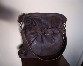 bag with brown leather/// recycled leather