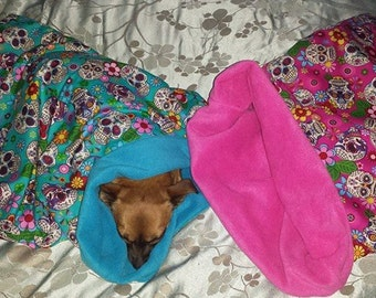 Dog Snuggle sack bed bag blanket.(sugar skull).