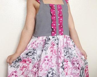 Pink Disney Princess Dress, 2t, 3t, 4t, 5t, Snow White, Belle, princess Jasmine, Ariel, toddler dress, kids birthday dress, pink disney dres