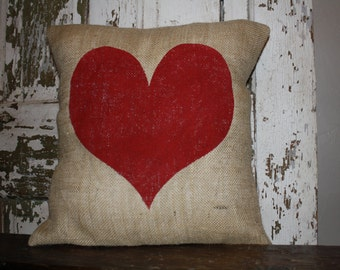 Heart Valentine Pillow Cover, Valentine Throw Pillow, 16x16 Burlap or Canvas