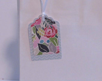Gift Tag Set of 8 ** Handmade**   Paper Spring Floral Blue Gray Chevron Tags