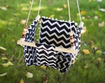 Baby Fabric Swing w/ Pom Pom Pilow. Indoor/Outdoor Baby/Todler Swing.
