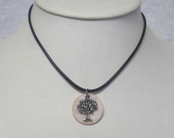 Tree of Life charm necklace with shell back