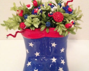 Vintage Button Bouquet/ Boots/Patroitic-USA-July 4th-Country Decor