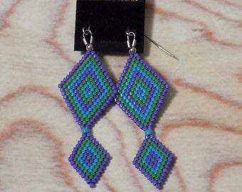 Seed Bead Earrings on Stainless Steel - Cool Breeze Pattern