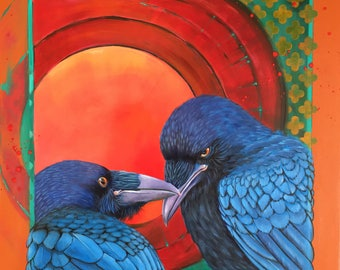 RAVENS IN LOVE - corvid, lovers, colorful, playful!