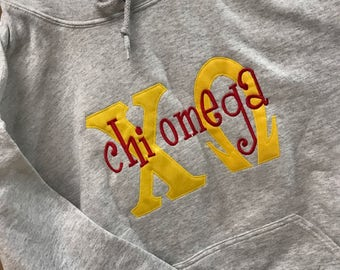 Small Chi Omega Hooded Sweatshirt