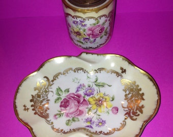 Antique, hand painted, French Porcelain, Lighter and Ashtray set
