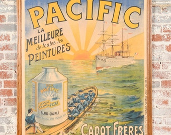 Le Pacific Enamel Paint - Original Antique French poster c1900s