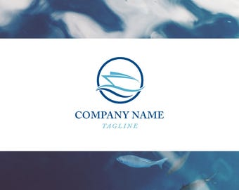 Premade Logo Design - Boat, ocean, waves, blue