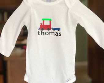 White boy onesie with a train. Boy outfit. Baby shower gift.  Baby's name