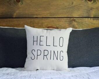 Hello Spring Pillow | Spring and Summer Decor | Home Decor | Living Space Decor | Accent Throw Pillow | Housewarming Gift | Handmade Throw