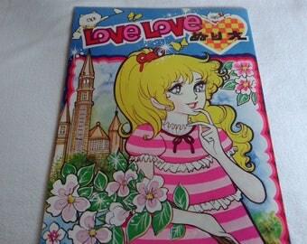 Vintage japan anime manga coloring book, showa era shoujo big eye girl