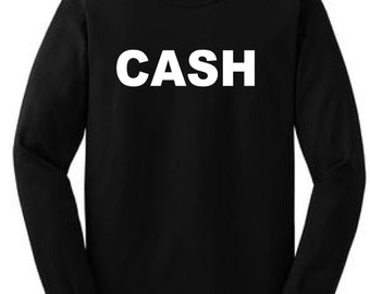 cash long sleeve t-shirt mens johnny cash shirts rockabilly clothes greaser shirts men's cool clothes warm winter black shirts