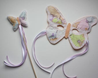 Butterfly Mask and Wand Set - White Pastels