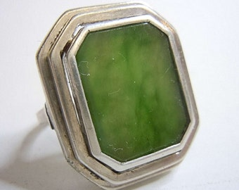 835 silver ART DECO ring with green moss agate around 1930