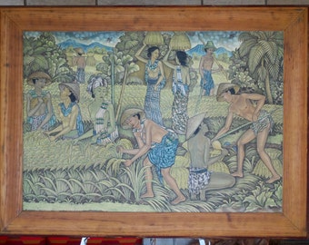 Large Painting From Bali Ubud Signed Sangrra