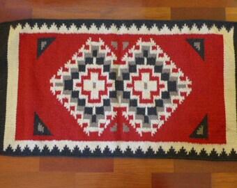"""Vintage Navajo Ganado Rug - 40"""" x 20"""" Native American Textile - Indian Rug"""