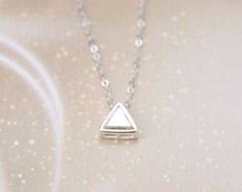 Sterling Silver Hollow Double Triangle Necklace Short pendant necklace lovely Girls Gift Women