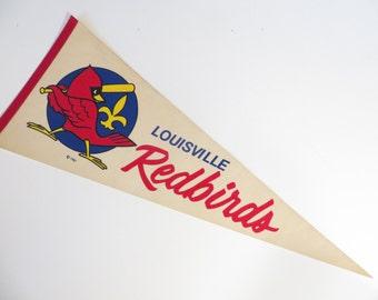 Vintage Louisville Redbirds Pennant - 1980s Louisville Redbirds Felt Baseball Pennant