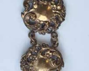 Edwardian Style, Very Long, Repousse' Brass, Double Linked Brooch