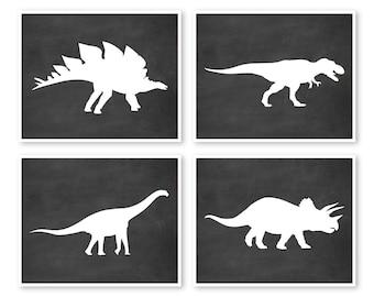 Dinosaur Wall Art, Set of 4 Prints, Nursery Wall Decor, Children's Wall Art, Dinosaur Decor, Little Boys Playroom, Boys Room Decor