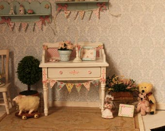 Sweet shabby table for dollhouses. Scale 1:12