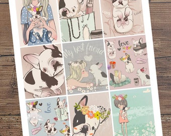 FRENCH BULLDOG FRENCHIE Day Square Stickers for your Planner