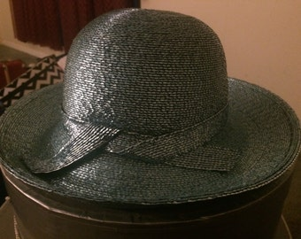 Big Sale--Frank Olive Tourquise Linen/Straw Hat With Hat Box