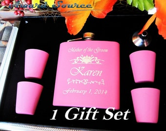 Set of 1 Personalized Pink Hip Flask // Up to 3 Lines of Engraving // Great Gift for Girl Friend, Bridal Party, Mother, Valentine, and More