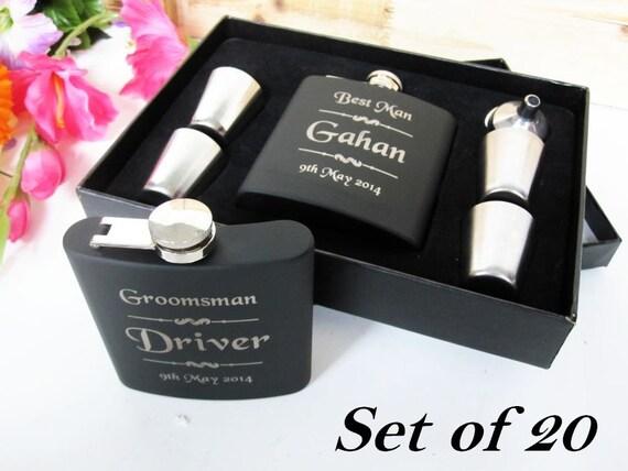 Wedding Party Gifts For Junior Groomsmen : Set of 20 Wedding Flask Gift Box Set // Groomsmen Gift Ideas ...