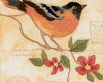 Elegant Oriole crewel embroidery kit