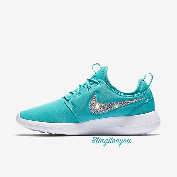 167fccfc90dc Nike Women s Roshe Two Blue Bling Shoes by Blingitonyouboutique low-cost