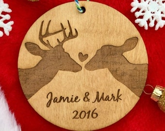 Personalized Couple's Christmas Ornament - Couple Ornament with Deer, Buck and Doe Ornament, Wedding Gift, Anniversary Gift, Outdoorsy Coupl