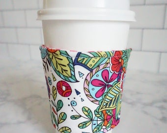 Reusable Coffee Sleeve-Coloring Book Print