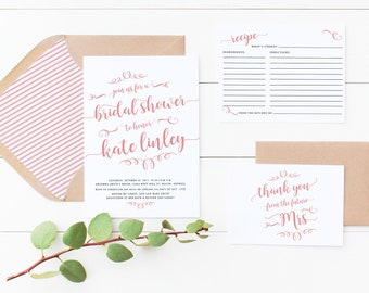 Bridal Shower Invitation and or recipe card and thank you card - digital file - print yourself OR Printed