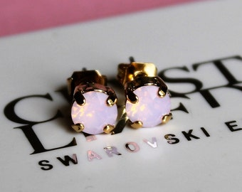Gold Plated Rose Water Opal Stud Earrings made with Swarovski Crystal Elements and Surgical Steel Posts