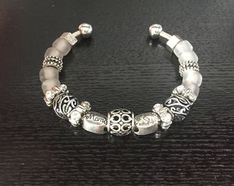 Cuff Bracelet with Silver 'Mom' and Baby Footprint Beads