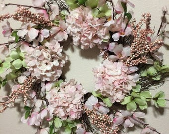 NEW ITEM - Spring, Summer Pink Hydrangrae with dogwood spiral grapevine spring wreath, purple wreath, 24n wreath, wreath, front door wreath