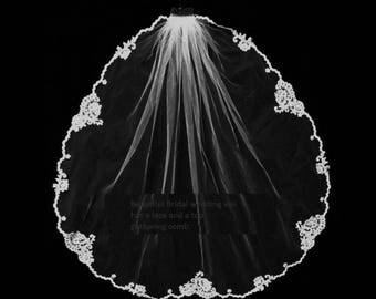 20% discount Courteous Bridal 1 tier veil lace  flowers