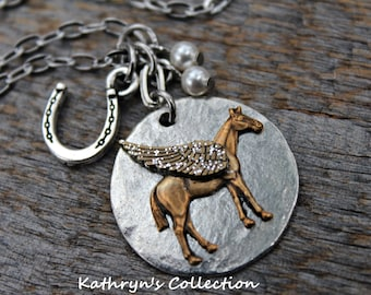 Horse Angel Necklace, Horse Memorial Necklace, Horse Sympathy Gift, Equestrian Jewelry