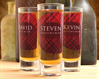Personalized Shot Glasses, Set of 5, Groomsmen Gifts, Plaid, Plaid Wedding, Irish Wedding