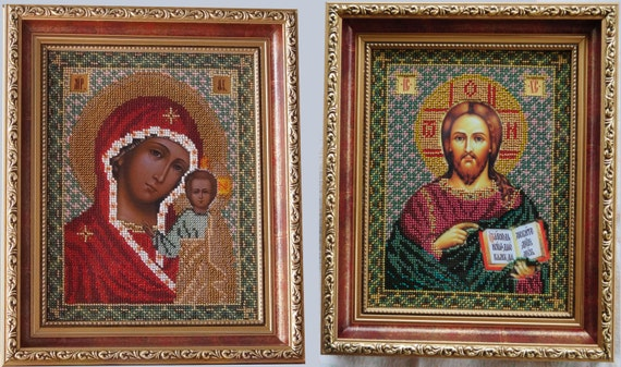 Jesus Christ Pantocrator and Virgin Mary Kazanska wedding pair orthodox Christian bead embroidered icon