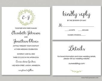 Green Layered Wreath Monogram Wedding Invitation Set (9914) - INSTANT DOWNLOAD - Ready to Print - Editable PDF